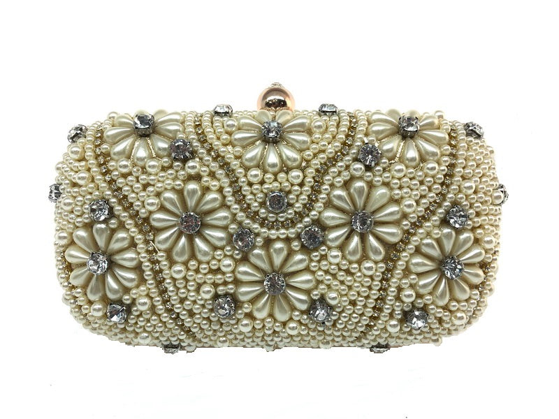 Corrine - handbeaded cream pearls and silver diamante clutch bag, Beth Jordan