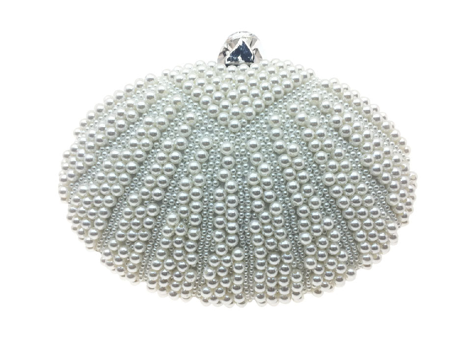 Ellie - Beth Jordan bag, large oval clutch bag with pearls