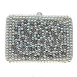 Lina - hand beaded pearls and crystal, hard case clutch bag, Beth Jordan