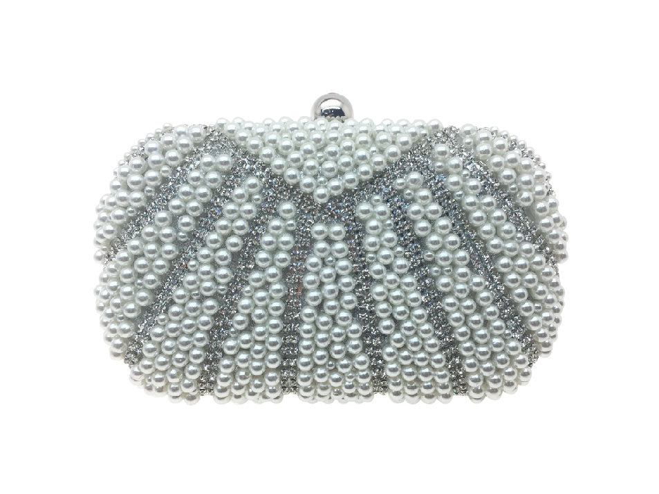Poppy - Beth Jordan bag,  pearls, diamante bejewelled clutch bag