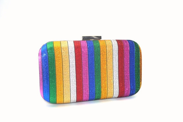 b2bc62827a Ginny - multi colour stripe, semi glitter clutch bag