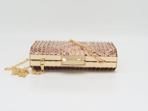 Perry - pink gold, hard case with snake print clutch bag, Beth Jordan
