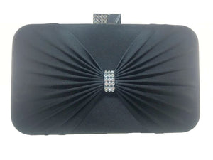 Cilla - satin pleat, diamante detail clutch bag, Beth Jordan