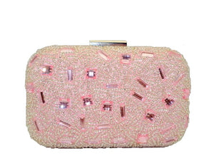 Luna - soft pink satin and diamante clutch bag, Beth Jordan
