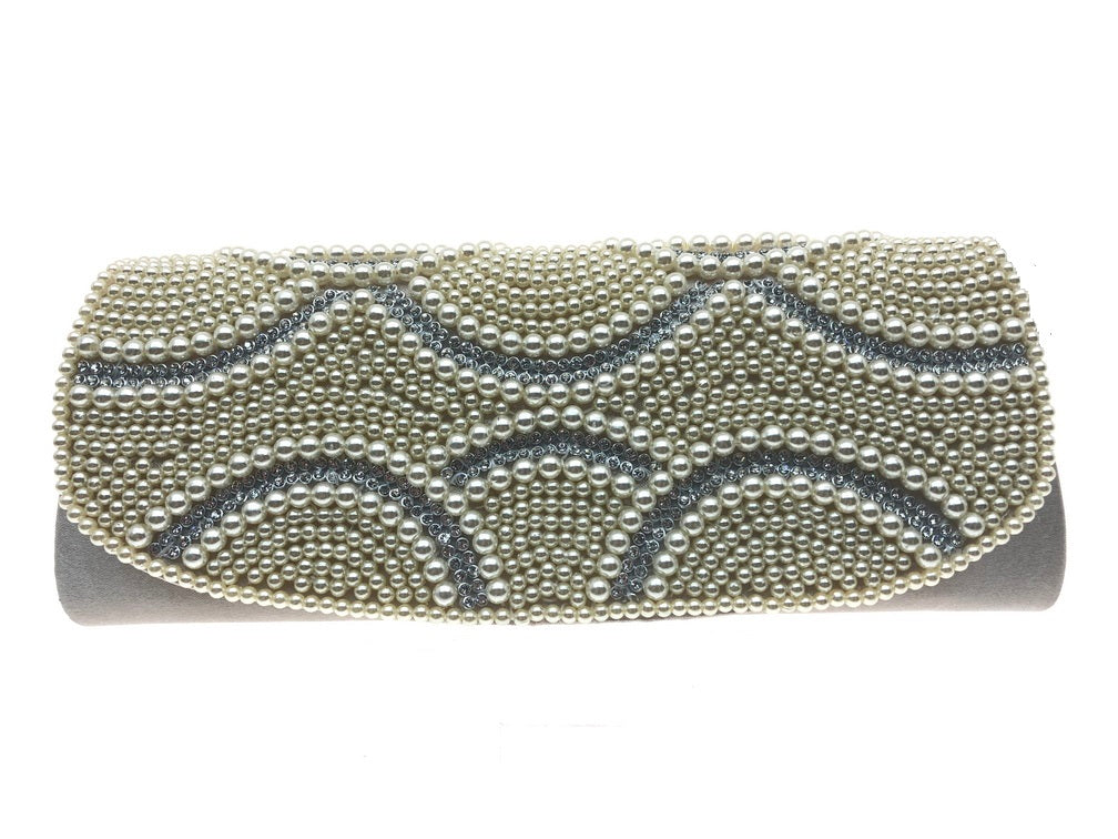 Rachael - cream pearls and diamante, handbeaded satin clutch bag, Beth Jordan