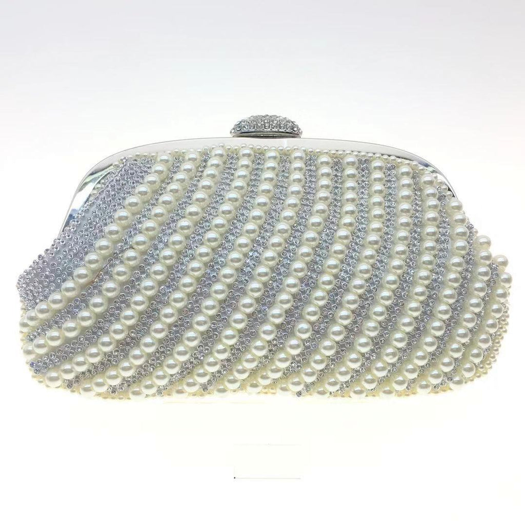 Vivian - hand beaded with pearls and diamante, soft clutch bag, Beth Jordan