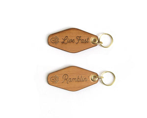 Ramblin' & Live Fast Keychains, set of 2