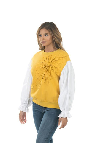 Puff sleeve sweat shirt sweater