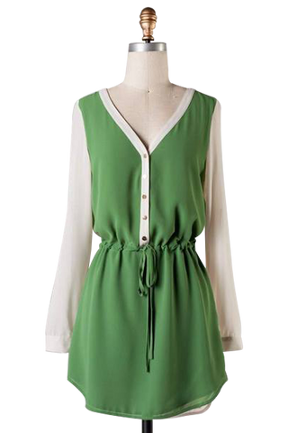 Green  draw string shirt dress