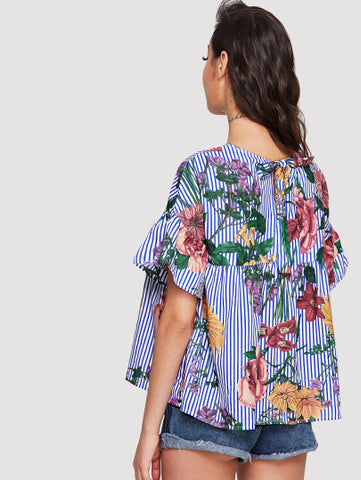 Ruffle Sleeve Floral & Stripe Top