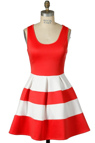 Tasha Red and White Dress