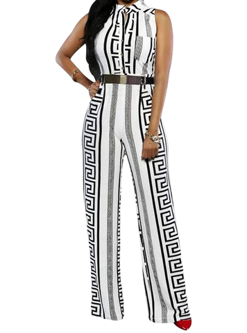 Geometric Print White Jumpsuit
