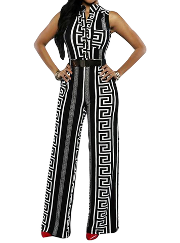Geometric Black Print Jumpsuit