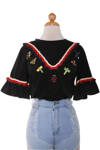 Buglife Black Ruffle trim tee