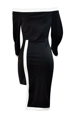 Black Off Shoulder  Knee Length Dress