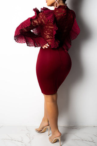 Wine Red Long Sleeve Lace Top Dress