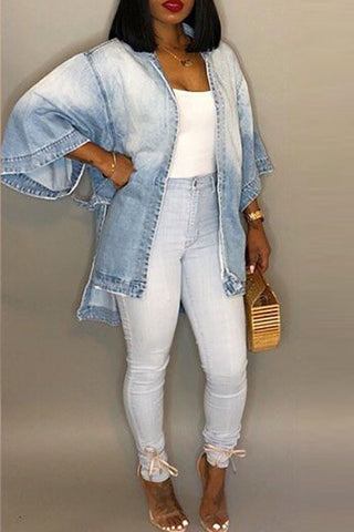 Blue Denim Long Sleeves Loose Light  Jacket by Reeanne