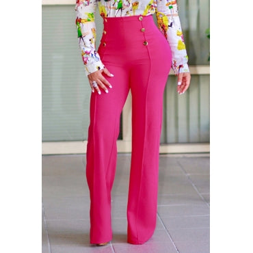 Blue High Waist Button Design Front Pants By Reeanne