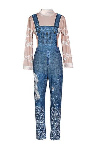 Blue Knitted Diamond Decorative Printed One-piece Jumpsuit By Reeanne
