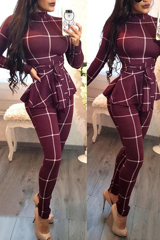 Wine Red Long Sleeve One Piece Plaid Jumpsuit