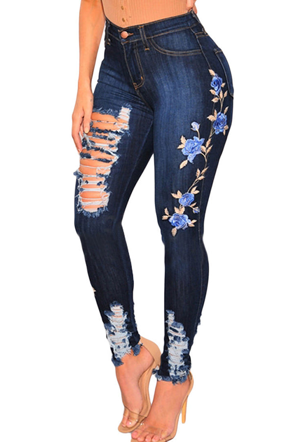Deep Blue Distressed Embroidered Design Jeans by Reeanne