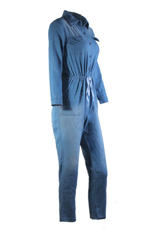 Denim Button Front Jumpsuit by Reeanne