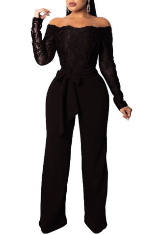 Elegant Long Sleeve Off Shoulder Lace Top Jumpsuit