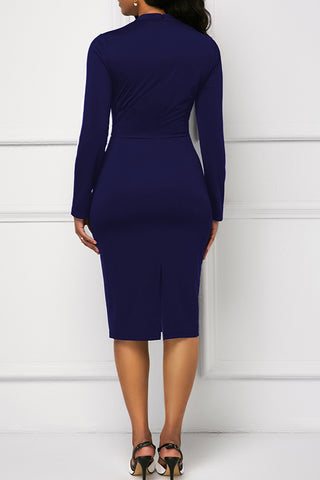 Wine Elegant Knee Length Dress
