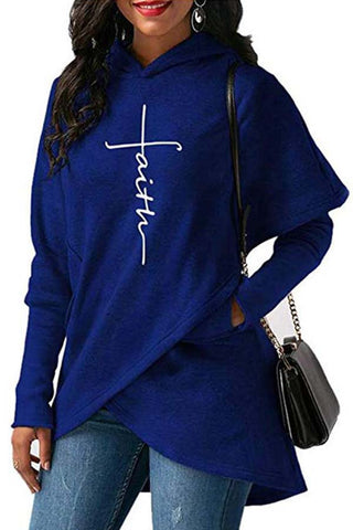 Faith Printed Asymmetrical Cotton Hoodies