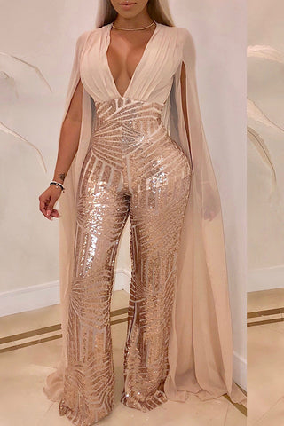 Flowing Sequin Cape Jumpsuit