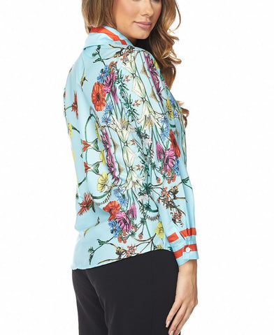 Onya Blue printed luxe blouse