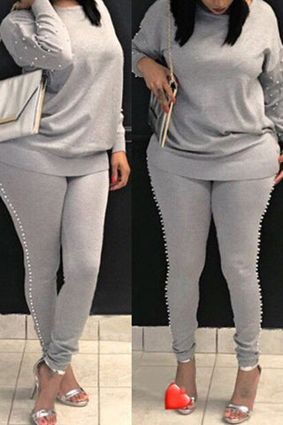 Grey Round Neck Pearl Embellished  Two-Piece Pants Set By Reeanne
