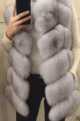 Grey Trendy Luxury  Faux Fur Vests by Reeanne