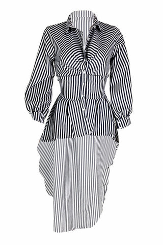 High Low Stripe  Long Sleeve Elastic Waist  Blouse By Reeanne