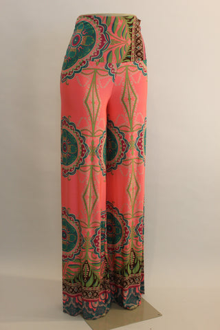 Stacy Bright coral wide leg pallazzo pants