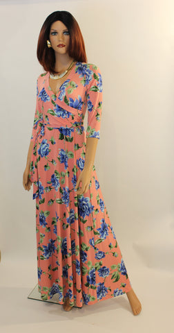 Pinky 3/4 sleeve  maxi dress