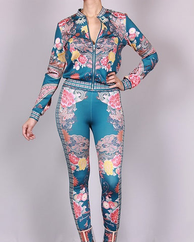 flower print 2 piece pants set