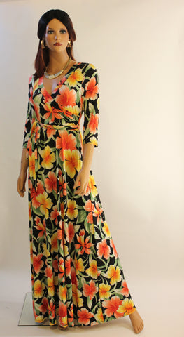 Reeny 3/4 sleeve  maxi dress