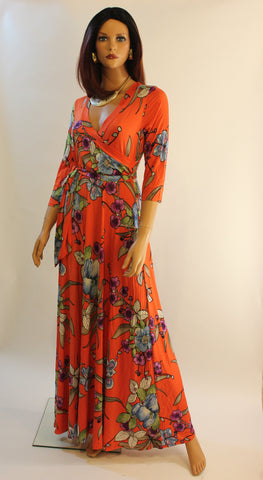 Val 3/4 sleeve  maxi dress