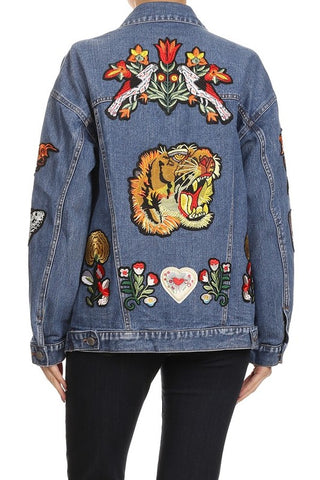 Tiger Patch Oversize Denim Jacket