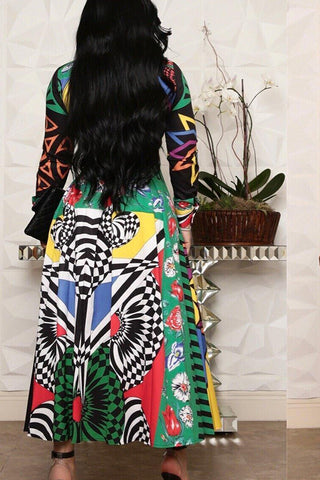 Long Sleeve Multicolor Dress