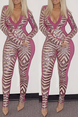 Long Sleeve Sequin Jumpsuit