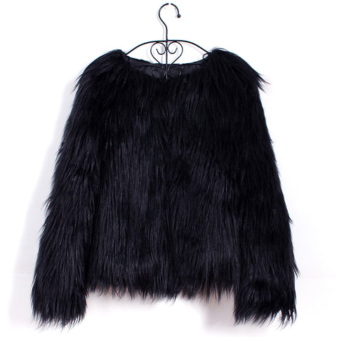 Long Sleeves Black Faux Fur Coat By Reeanne