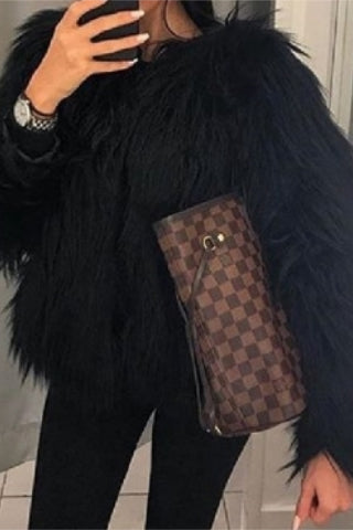 Long Sleeves Black Faux Fur Coat