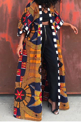 Multi color African Print Open Caftan Coat