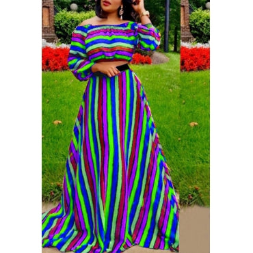 Multicolor Two-piece Skirt Set
