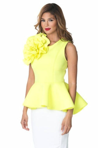 BIG FLOWER PATCH DETAIL PEPLUM TOP IN LEMON COLOR reeanne.com