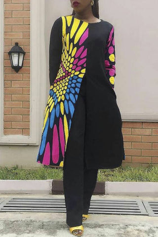 Printed Long Sleeve Open Front Midi Style T-Shirt By Reeanne