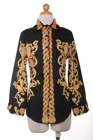 Mimi Black printed luxe blouse