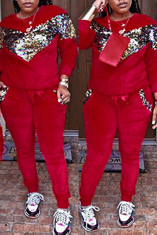 Sequined Embellished Red Velvet Two-piece Pants Set
